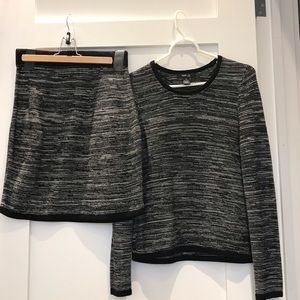Two piece sweater and sweater skirt.
